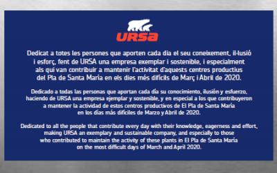 URSA rinde homenaje a sus empleados por su esfuerzo y dedicación frente al Coronavirus